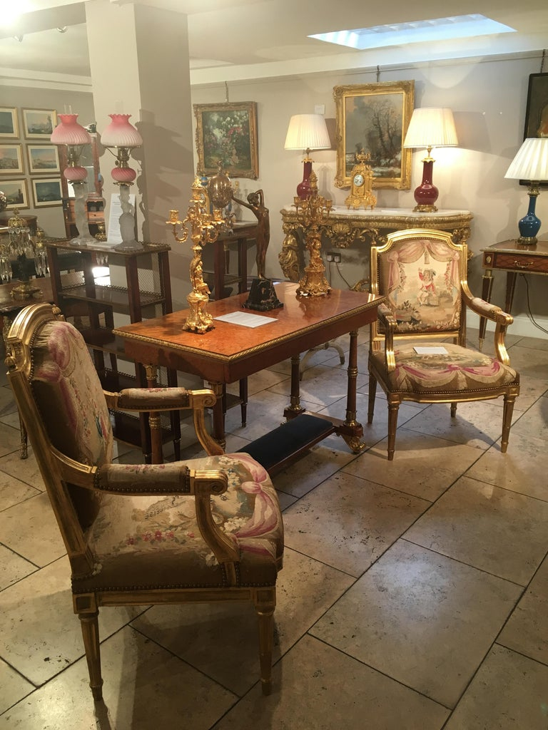 Carved Pair of Louis XVI Period Giltwood and Tapestry Armchairs For Sale