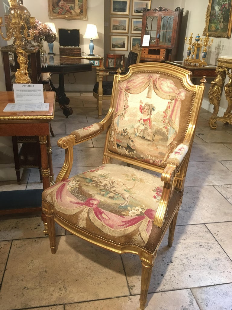 Pair of Louis XVI Period Giltwood and Tapestry Armchairs In Excellent Condition For Sale In London, GB