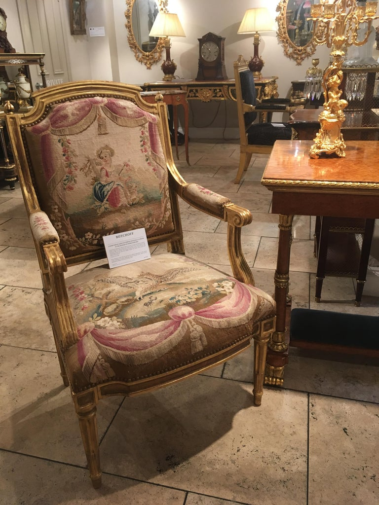 18th Century and Earlier Pair of Louis XVI Period Giltwood and Tapestry Armchairs For Sale