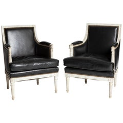 Pair of Louis XVI Period Painted 18th Century Bergère Chairs in Black Leather