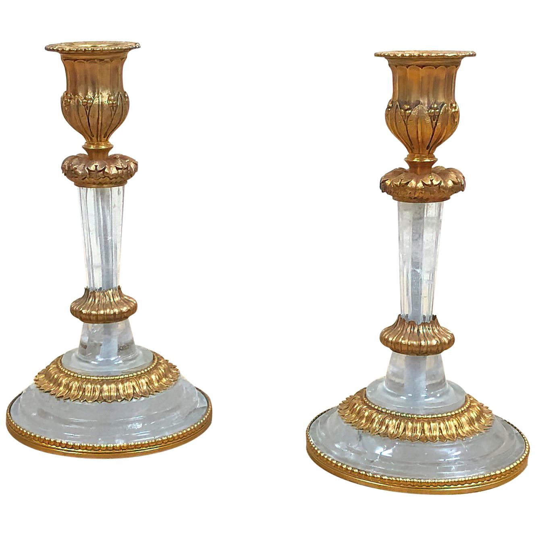 Pair of Louis XVI Rock Crystal Candlesticks