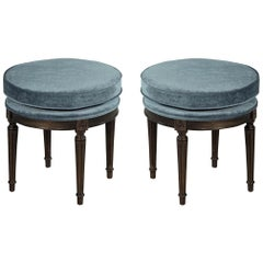 Pair of Louis XVI Round Ottoman Stool Benches