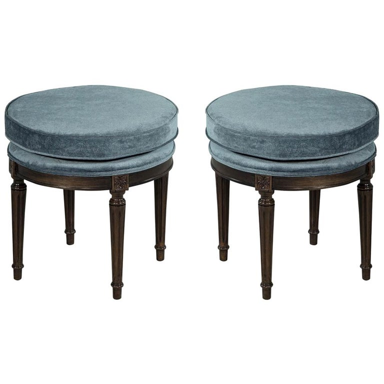 Enjoyable Pair Of Louis Xvi Round Ottoman Stool Benches At 1Stdibs Gmtry Best Dining Table And Chair Ideas Images Gmtryco