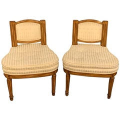 Pair of Louis XVI Slipper Chairs Having Cushions in Hollywood Regency Manner