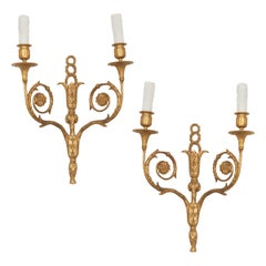Pair of Louis XVI Style 19th Century Gilt Bronze Sconces