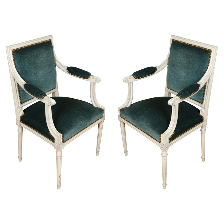 Pair of Louis XVI Style Arm Chairs For Sale