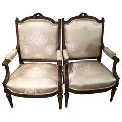 Pair of Louis XVI Style Armchairs, 19th Century, Silk Upholstery