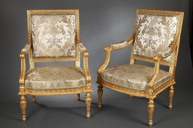 French Pair of Louis XVI Style Armchairs  For Sale