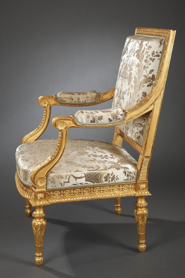 Giltwood Pair of Louis XVI Style Armchairs  For Sale
