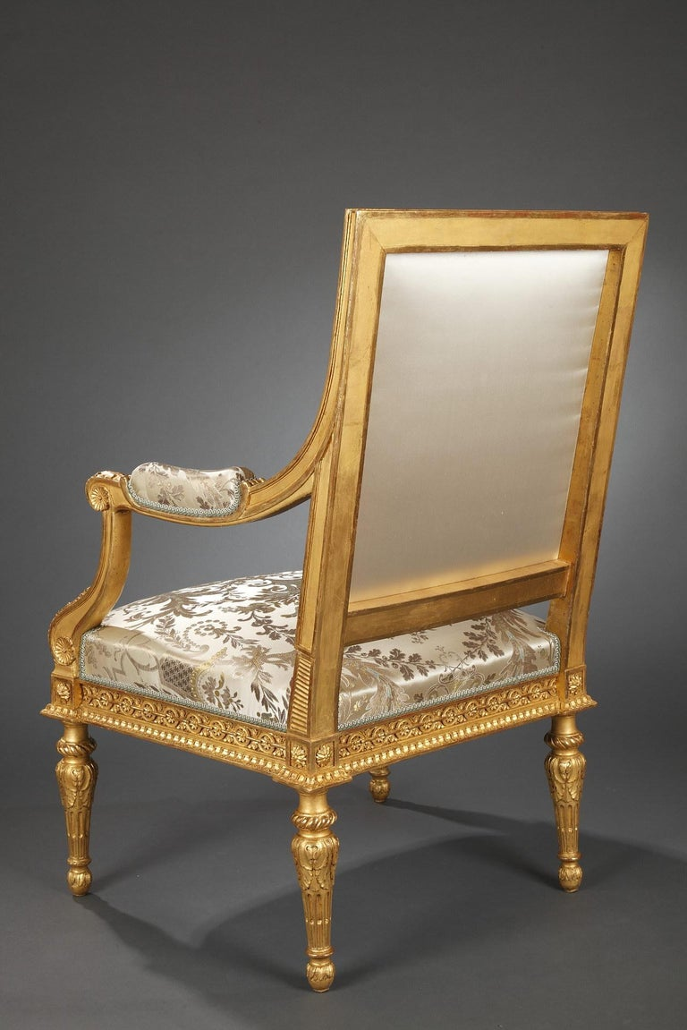Pair of Louis XVI Style Armchairs  For Sale 1
