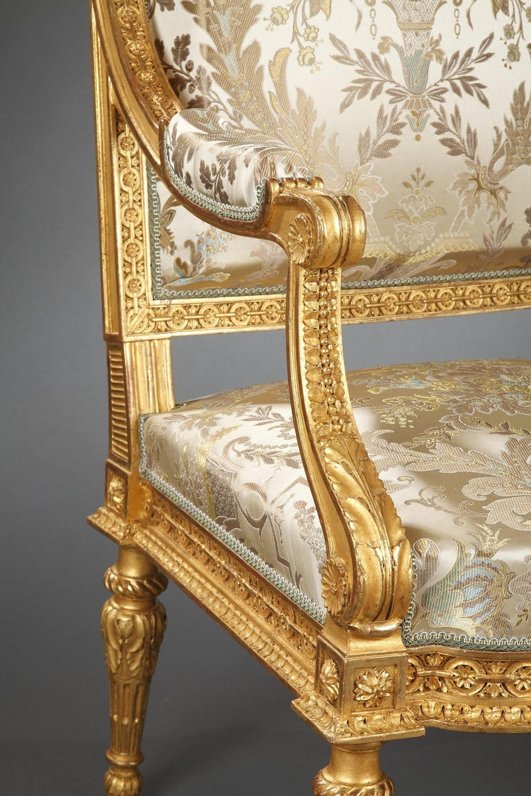 Pair of Louis XVI Style Armchairs  For Sale 3