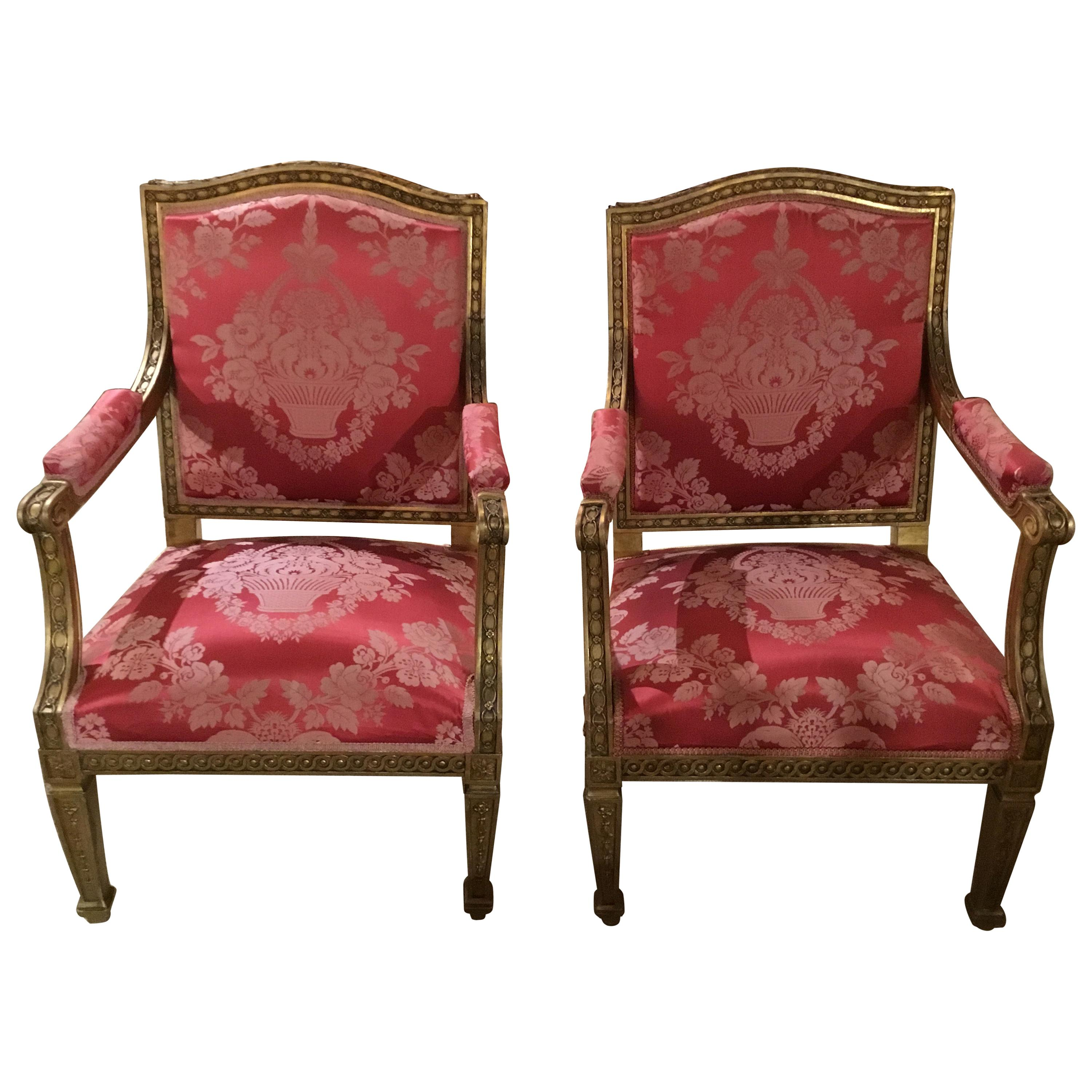 Pair of Louis XVI Style Armchairs/Fauteuils, 19th Century