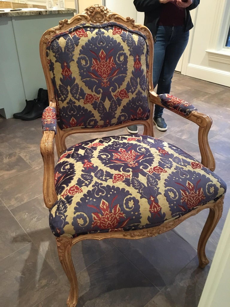 Pair of Louis XVI Style Armchairs For Sale 4