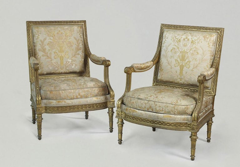 Pair of Louis XVI Style Armchairs  For Sale 5