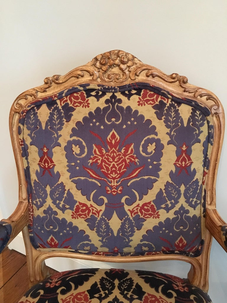 Pair of Louis XVI Style Armchairs In Good Condition For Sale In Southampton, NY