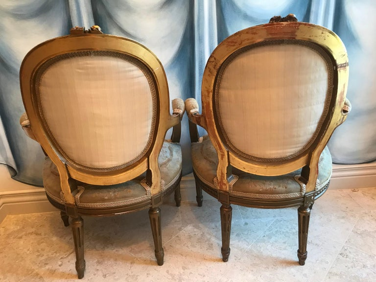 Mid-19th Century Pair of Louis XVI Style Armchairs For Sale