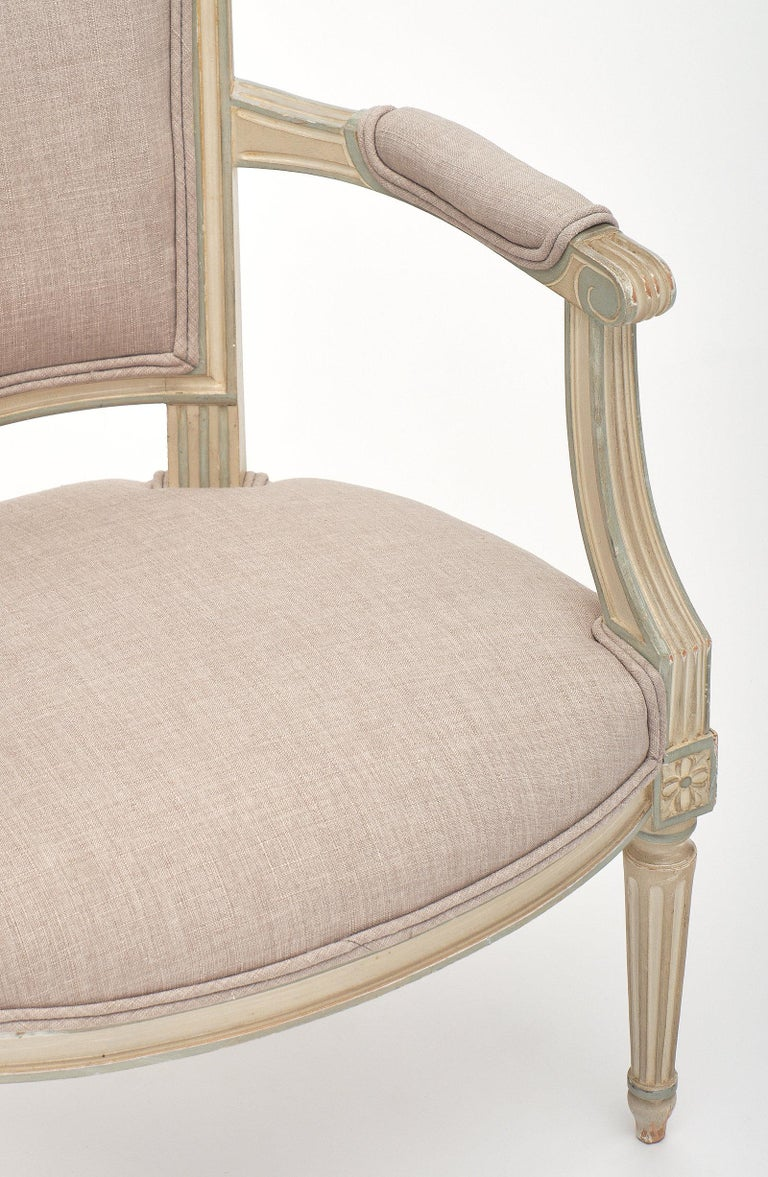 Late 19th Century Pair of Louis XVI Style Armchairs For Sale