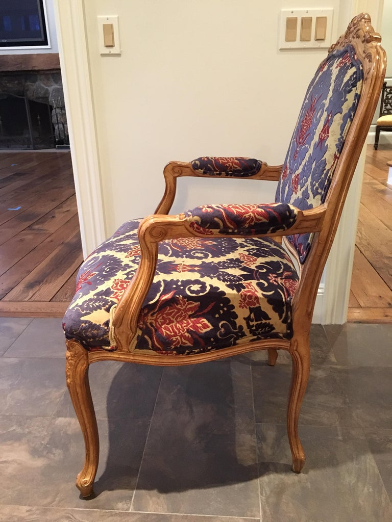 Velvet Pair of Louis XVI Style Armchairs For Sale