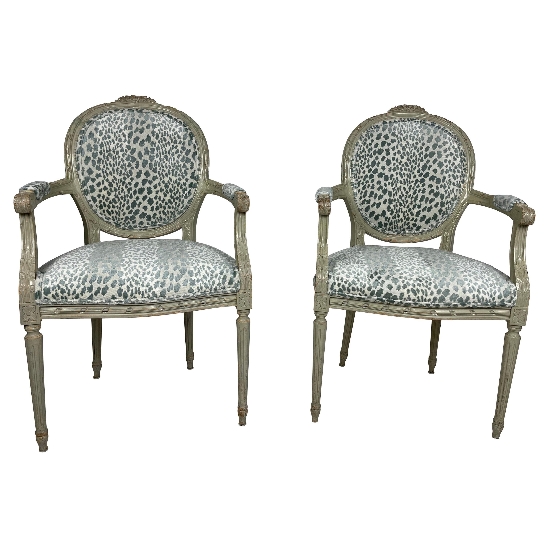 Pair of Louis XVI Style Armchairs with Blue/Green Animal Print Velvet