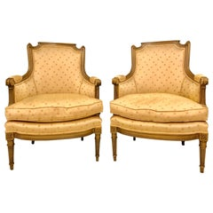 Pair of Louis XVI Style Bergère Chairs, Armchairs