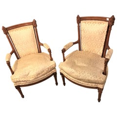 Pair of Louis XVI Style Bergere Chairs or Armchairs