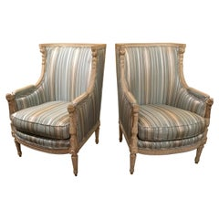 Pair of Louis XVI-Style Bergeres/Chairs, Late 19th Century in Polychrome Finish