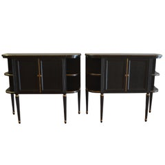 Pair of Louis XVI Style Black Demilune Cabinets, Gilt Accents, Two Doors, Shelf