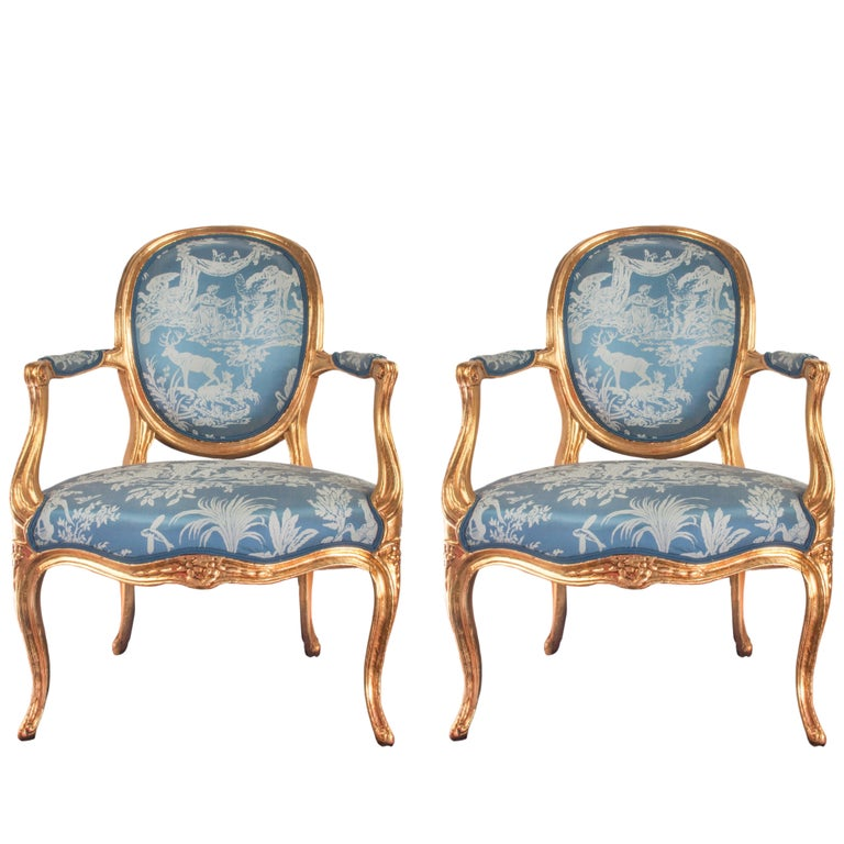 Pair of Louis XVI Style Blue Armchairs French, Early 20th Century For Sale