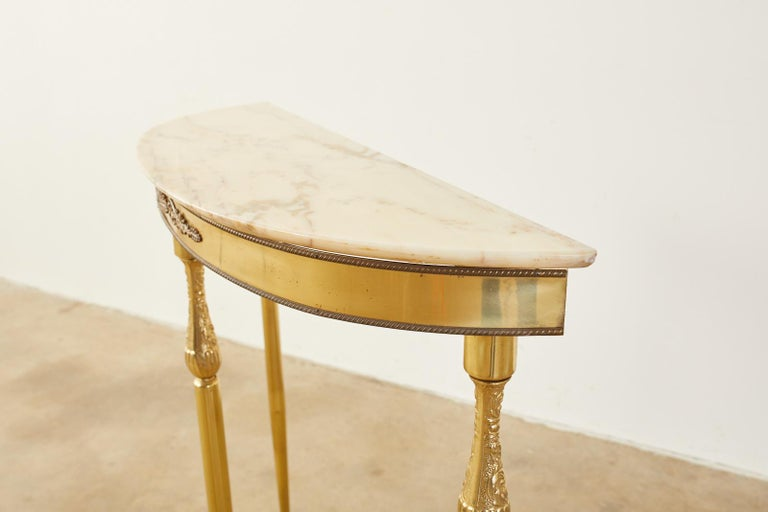 Pair of Louis XVI Style Brass Marble-Top Demilune Consoles For Sale 10