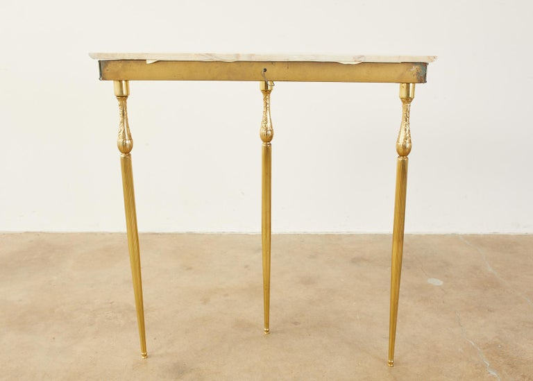 Pair of Louis XVI Style Brass Marble-Top Demilune Consoles For Sale 13