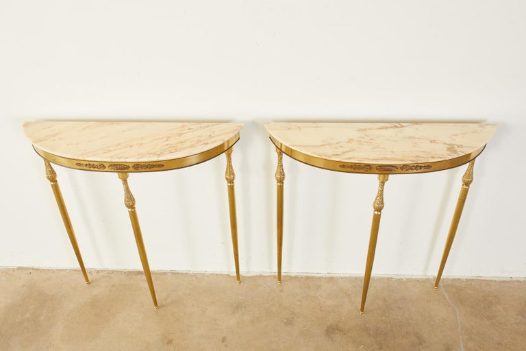 Italian Pair of Louis XVI Style Brass Marble-Top Demilune Consoles For Sale