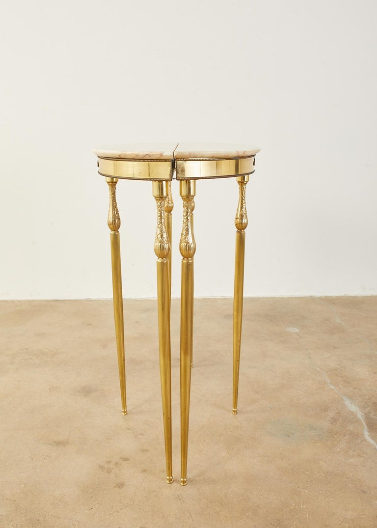 20th Century Pair of Louis XVI Style Brass Marble-Top Demilune Consoles For Sale