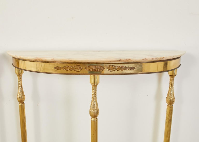 Pair of Louis XVI Style Brass Marble-Top Demilune Consoles For Sale 1