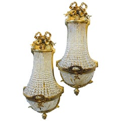 Pair of Louis XVI Style Bronze and Crystal Beaded Diminutive Wall Sconce