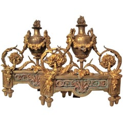 Pair of Louis XVI Style Bronze and Gilt Bronze Chenets or Andirons