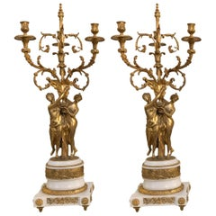 Pair of Louis XVI Style Bronze & Marble Figural Candelabras