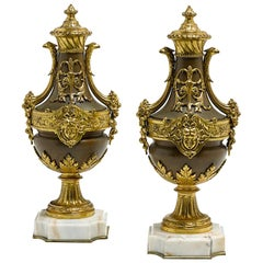 Pair of Louis XVI Style Bronze Urns, 19th Century