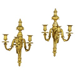 Pair of Louis XVI Style Bronze Wall Sconces