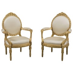 Pair of Louis XVI Style Carved Giltwood Fauteuils à la Reine Chairs, circa 1880