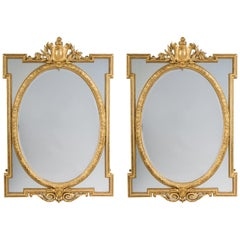 Pair of Louis XVI Style Carved Marginal Frame Mirrors. French, c 1890