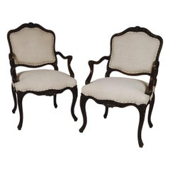 Pair of Louis XVI Style Carved Walnut Fauteuils Armchairs