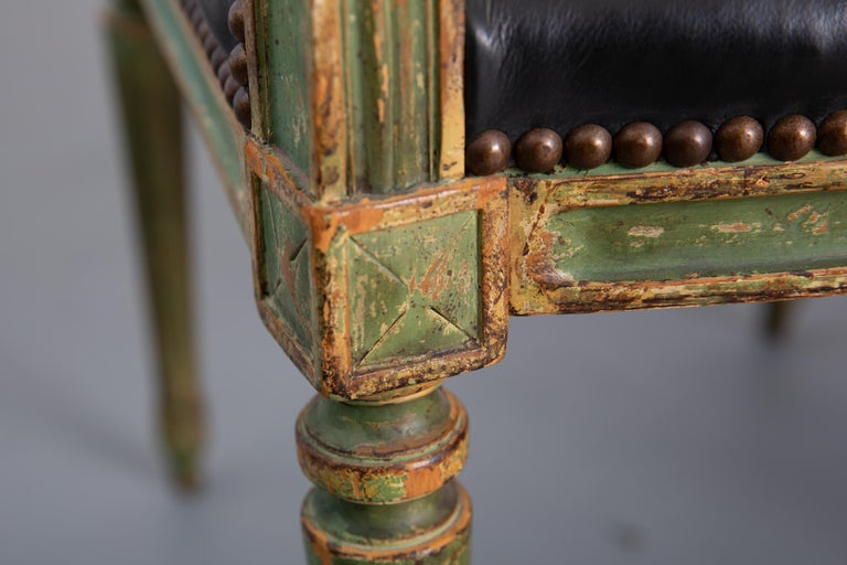 Pair of Louis XVI Style Carved Wood Leather Deco Armchairs For Sale 4
