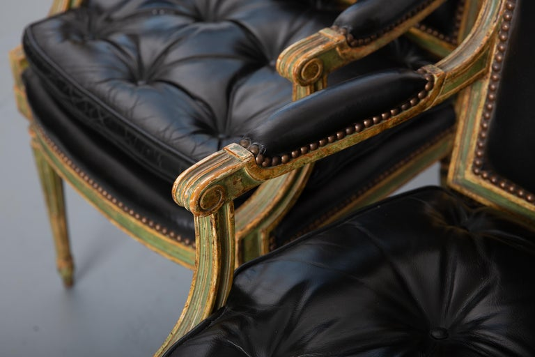 Pair of Louis XVI Style Carved Wood Leather Deco Armchairs For Sale 5