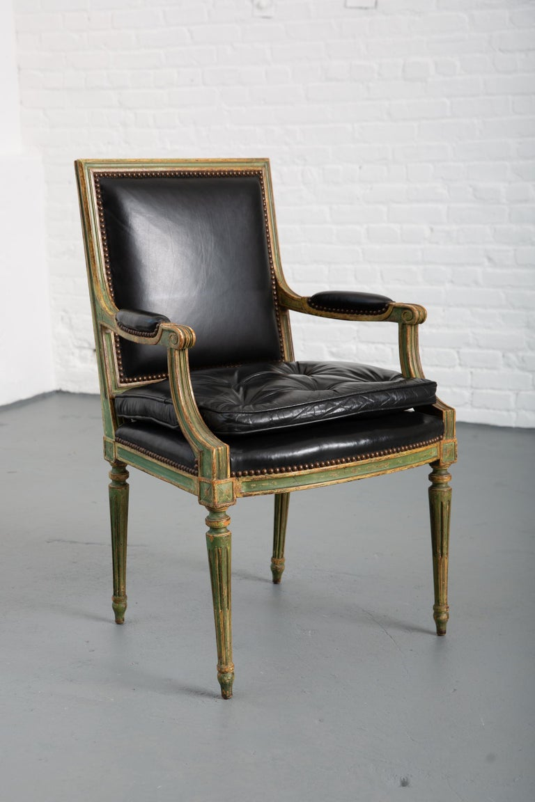 Pair of Louis XVI Style Carved Wood Leather Deco Armchairs For Sale 6