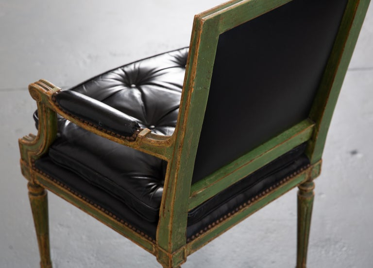 Pair of Louis XVI Style Carved Wood Leather Deco Armchairs For Sale 8