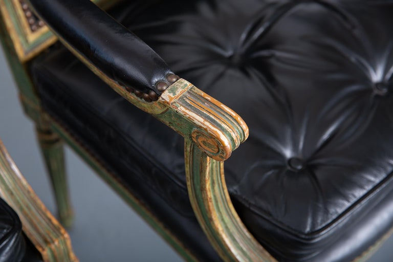 French Pair of Louis XVI Style Carved Wood Leather Deco Armchairs For Sale
