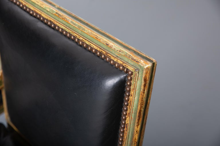 Pair of Louis XVI Style Carved Wood Leather Deco Armchairs In Good Condition For Sale In New York, NY