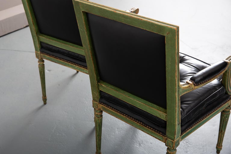 19th Century Pair of Louis XVI Style Carved Wood Leather Deco Armchairs For Sale