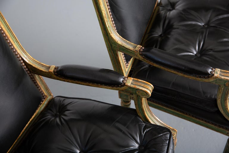 Pair of Louis XVI Style Carved Wood Leather Deco Armchairs For Sale 1
