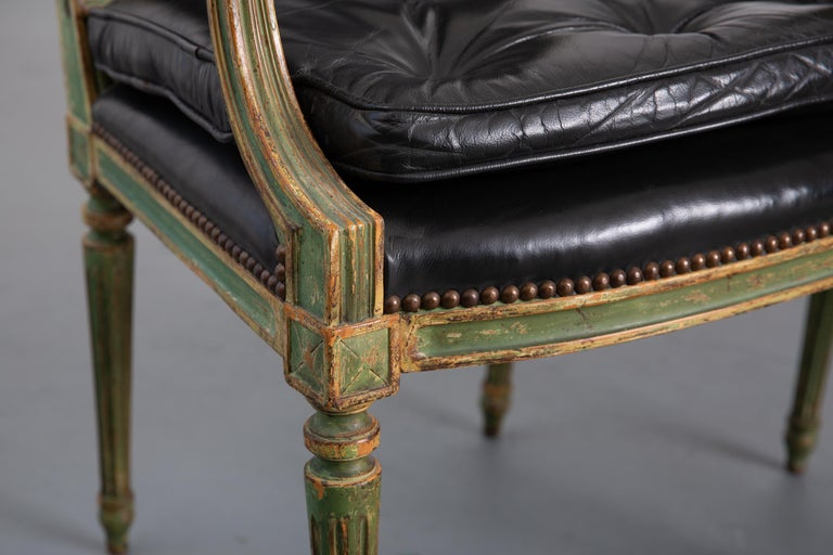 Pair of Louis XVI Style Carved Wood Leather Deco Armchairs For Sale 3